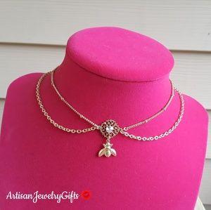 Layered 16K Gold Bee Gem Choker Necklace